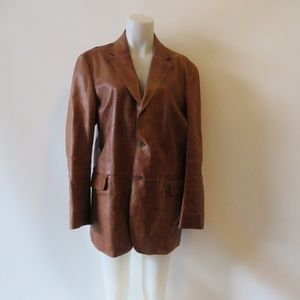 DKNY LT BROWN DISTRESSED LEATHER JACKET SIZE L